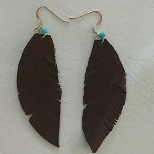 Boho leather feather earrings
